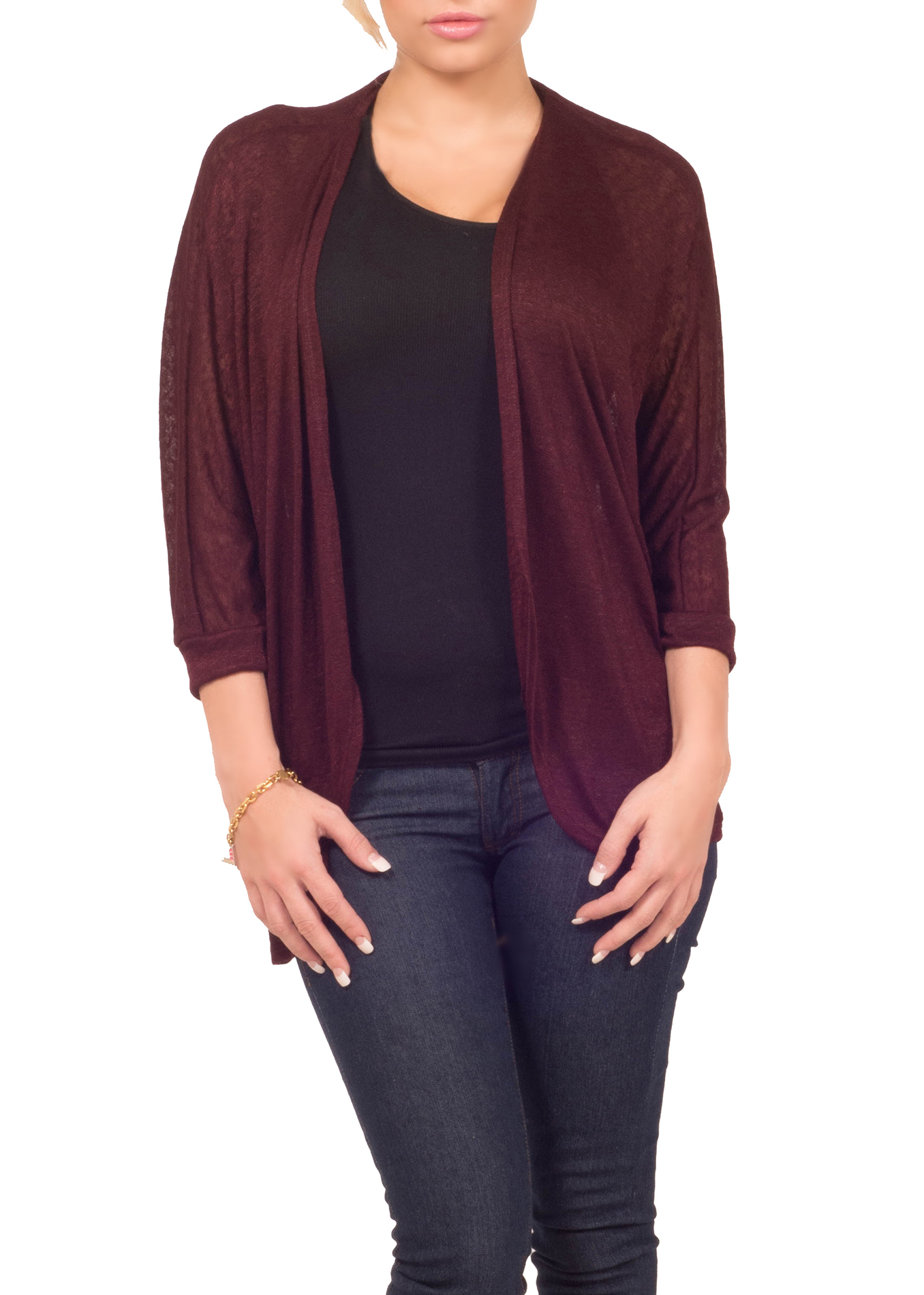 Hot From Hollywood Womens Fitted Sweater Knit Solid Sheer Open Front 3/4 Sleeve Casual Cardigan at Sears.com