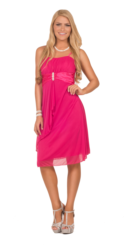 Hot From Hollywood Womens Cocktail Formal Chiffon Rhinestone Brooch Sweetheart Knee Length Dress at Sears.com