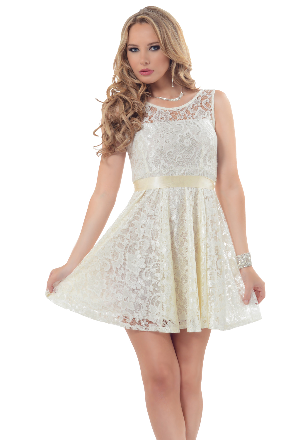 Hot From Hollywood Stunning Rose Lace Overlay Flirty Fit-N-Flare Mini Tulle Tutu Ribbon Bow Dress at Sears.com