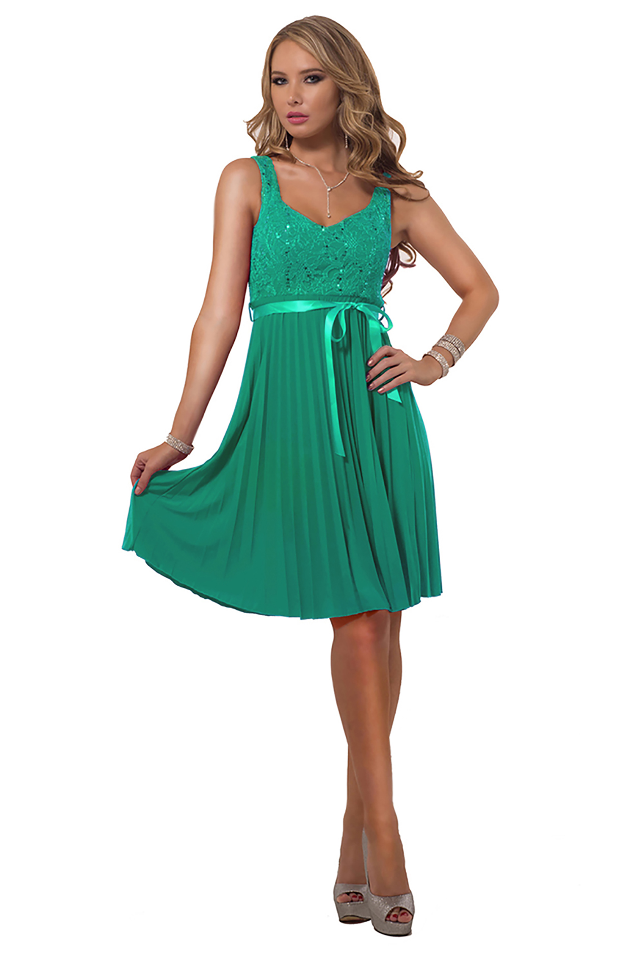 Hot From Hollywood Accordion Pleated Floral Lace Sequin Knee Length Bow Tie Bridesmaid Party Dress at Sears.com