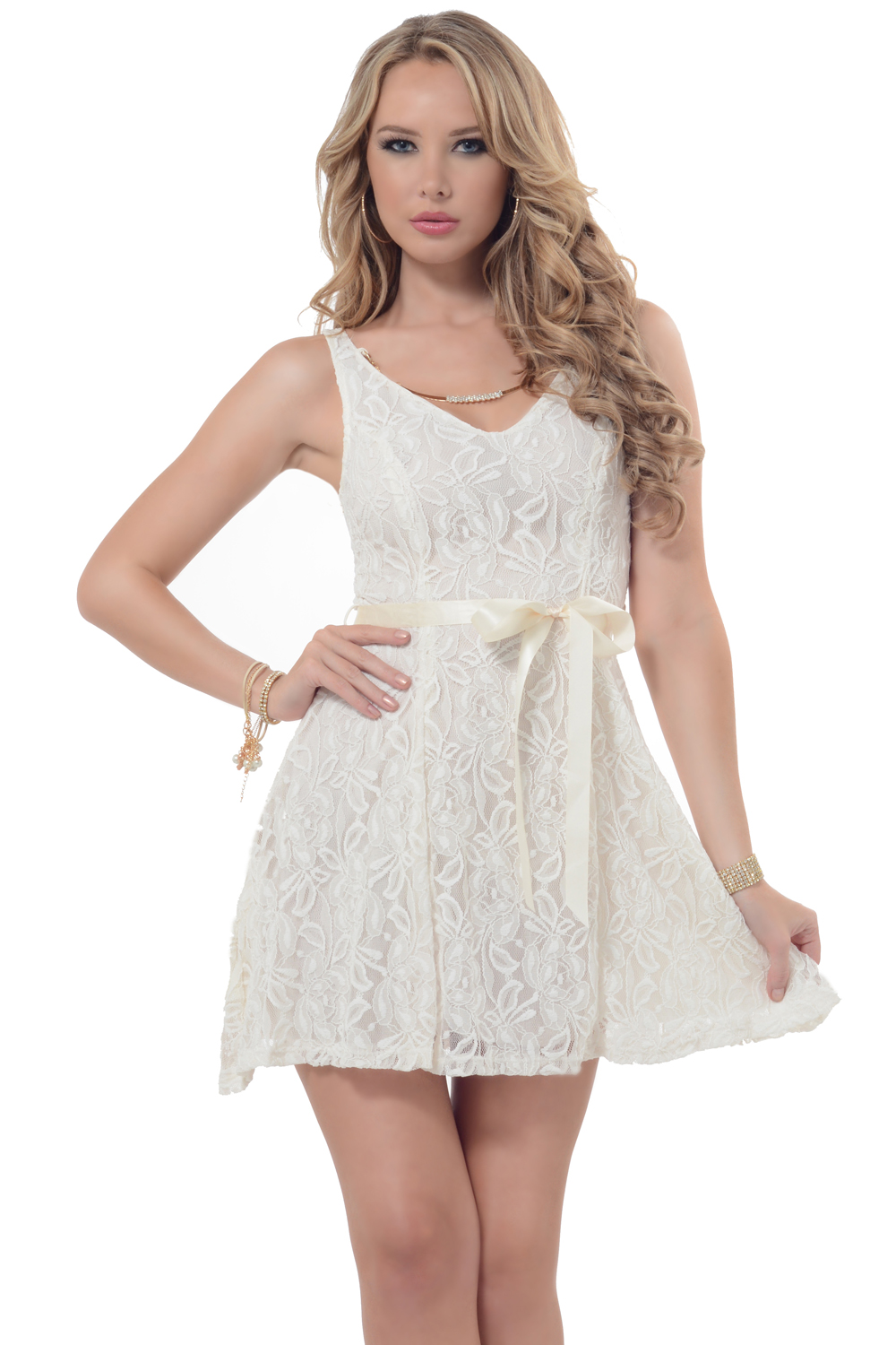 Hot From Hollywood Romantic V-Neck Floral Lace Detachable Gold Rhinestone Necklace Short Flare Dress at Sears.com