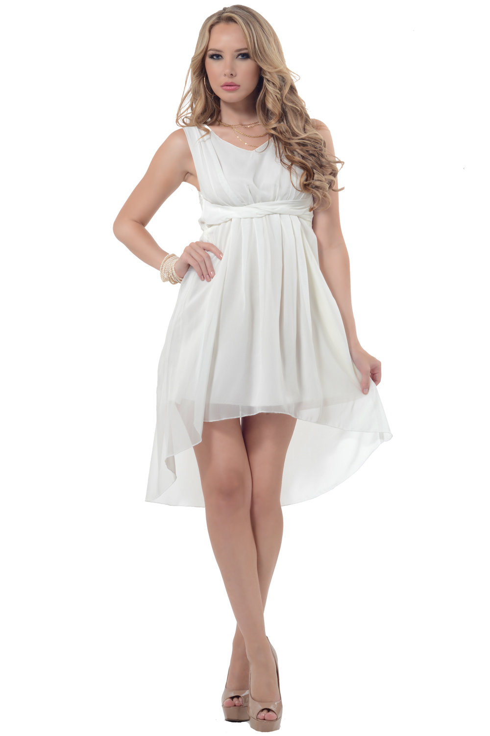Hot From Hollywood Elegant Sleeveless V Neck Cross Over Lightweight Drapey Hi-Low Chiffon Dress at Sears.com
