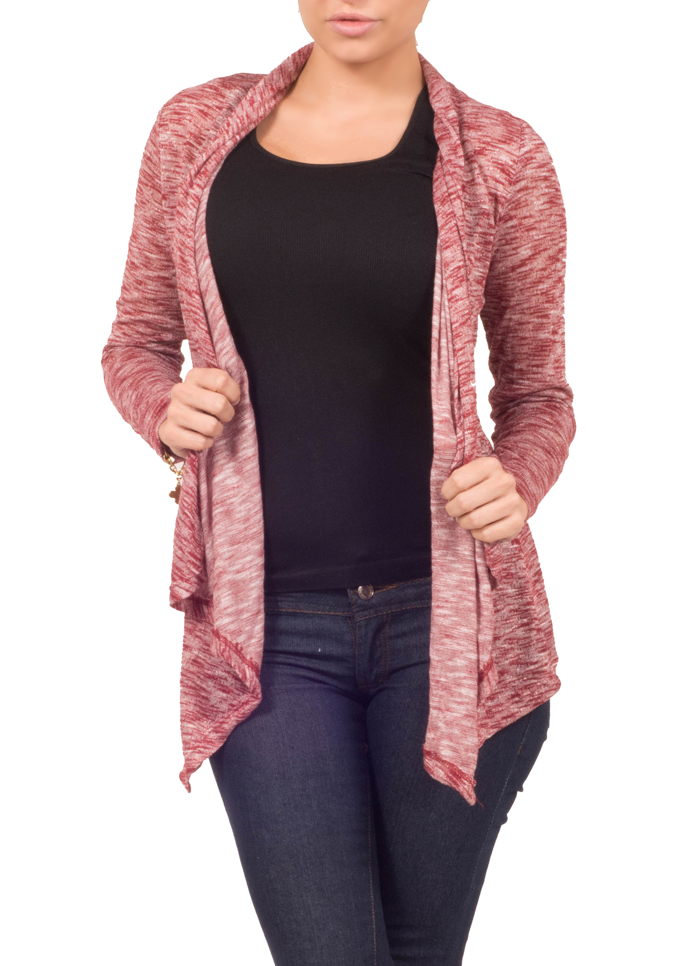 Hot From Hollywood Womens Sweater Knit Assymetrical Open Front Long Sleeve Drape Casual Cardigan at Sears.com