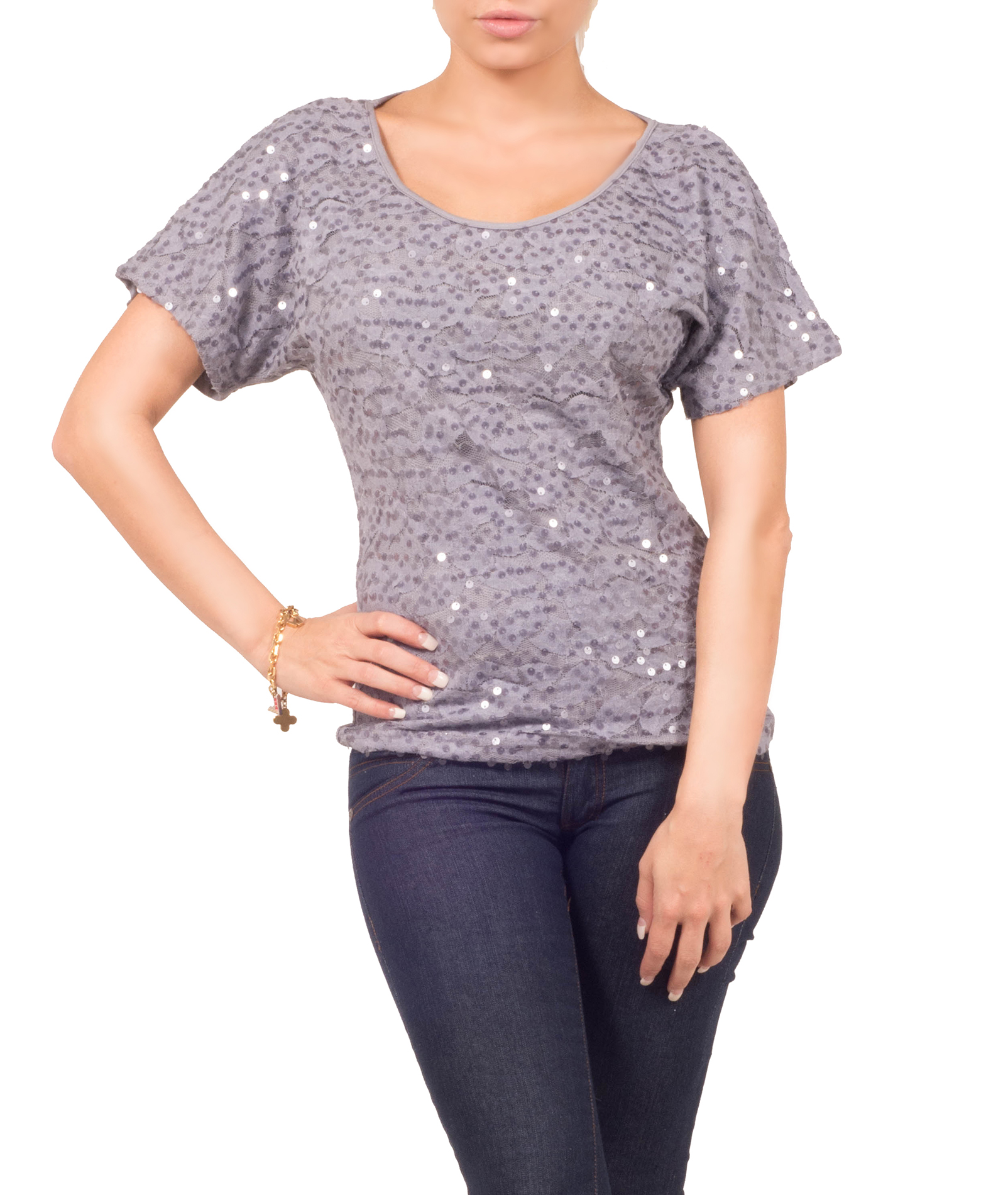 Hot From Hollywood Womens Fitted Jersey Sequin Mesh Scoop Neck Short Sleeve Formal Party Blouse Top at Sears.com