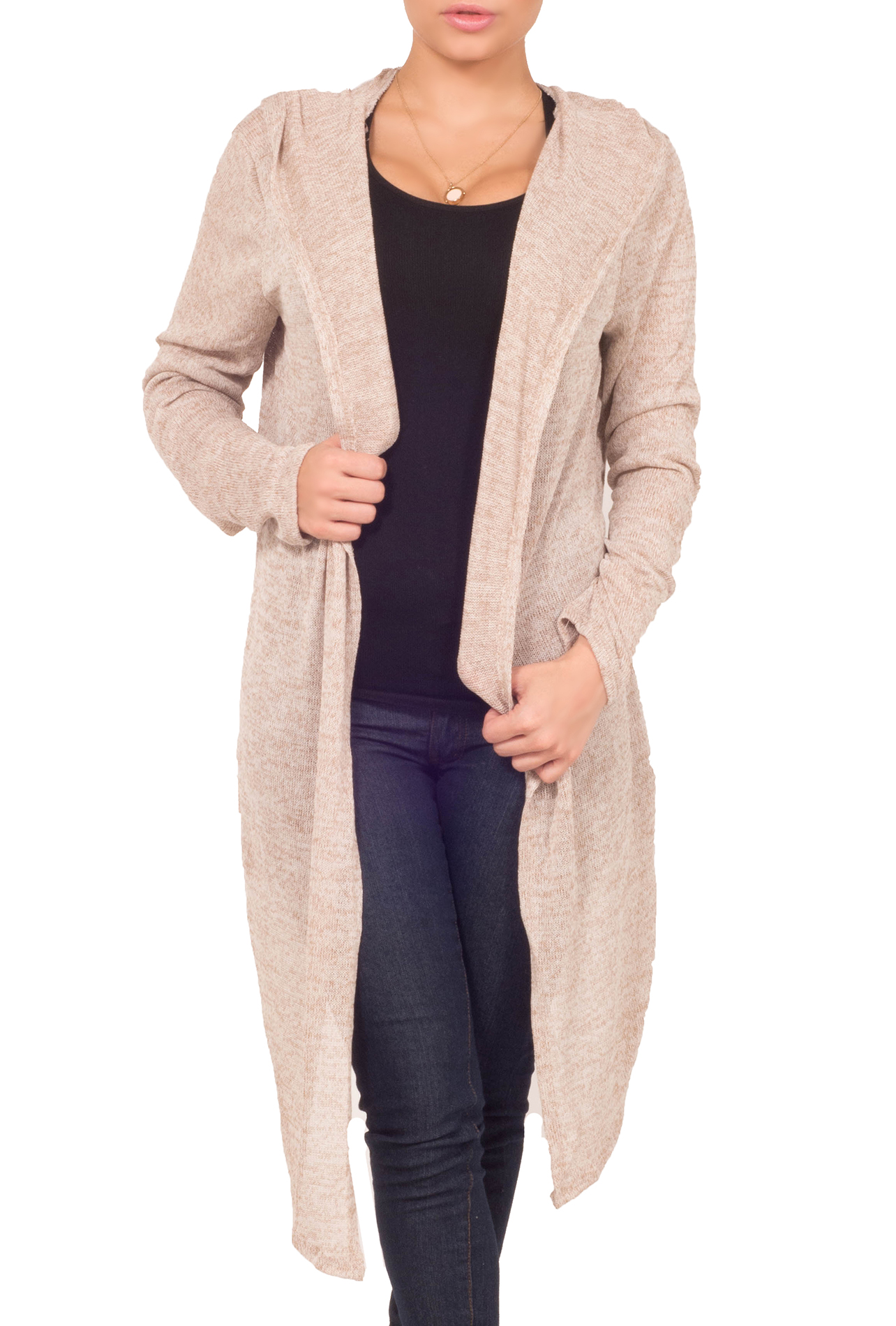 Hot From Hollywood Womens Fitted Waffle Knit Drape Open Front Long Sleeve Hooded Casual Cardigan at Sears.com