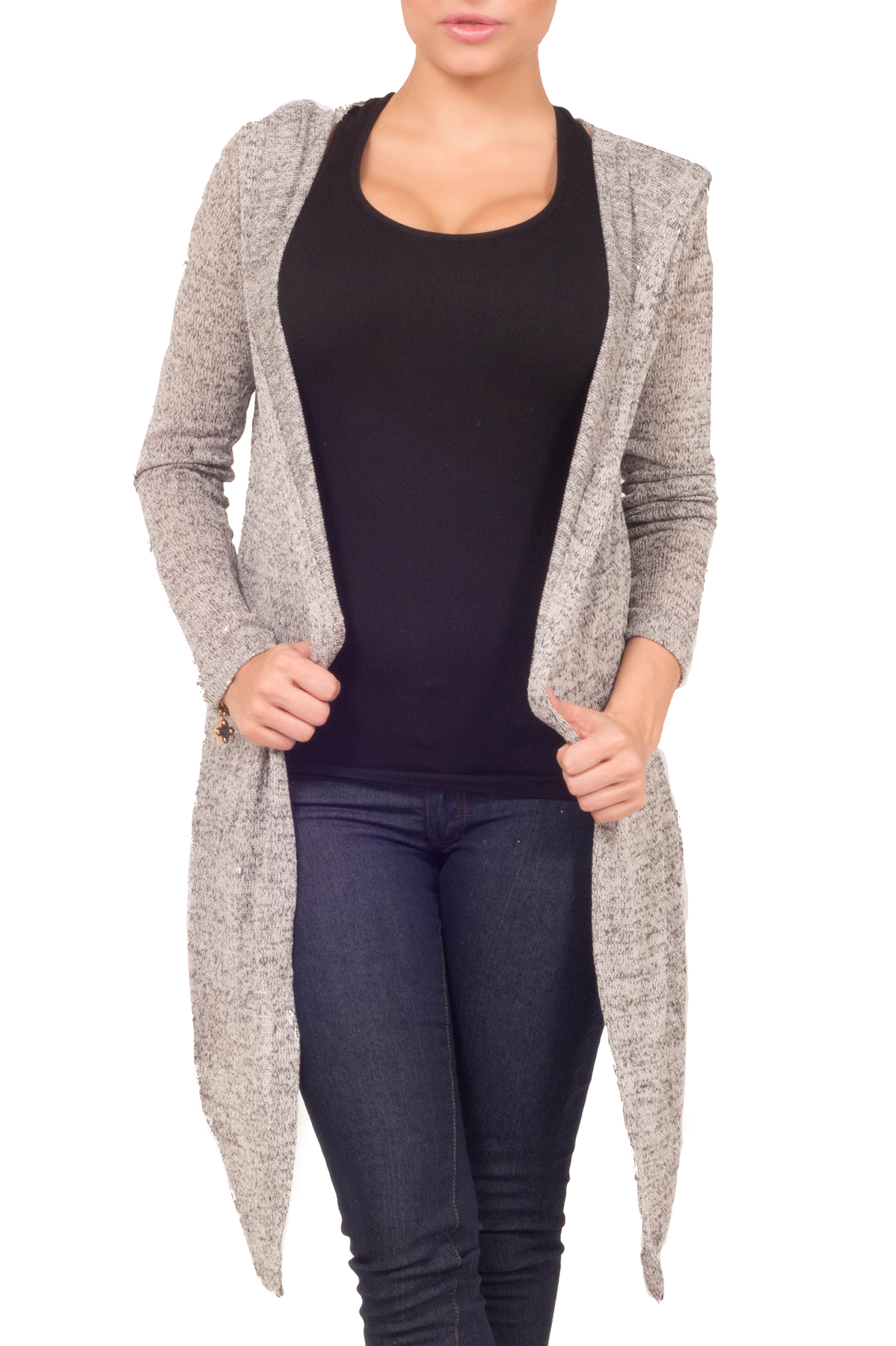 Hot From Hollywood Womens Fitted Waffle Knit Drape Open Front Long Sleeve Hooded Casual Cardigan