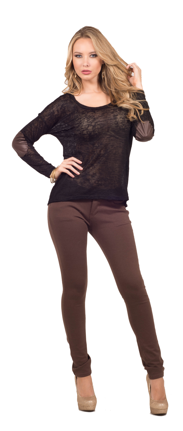 Womens Casual Sweater Knit Elbow Patch Scoop Neck Long Sleeve Top