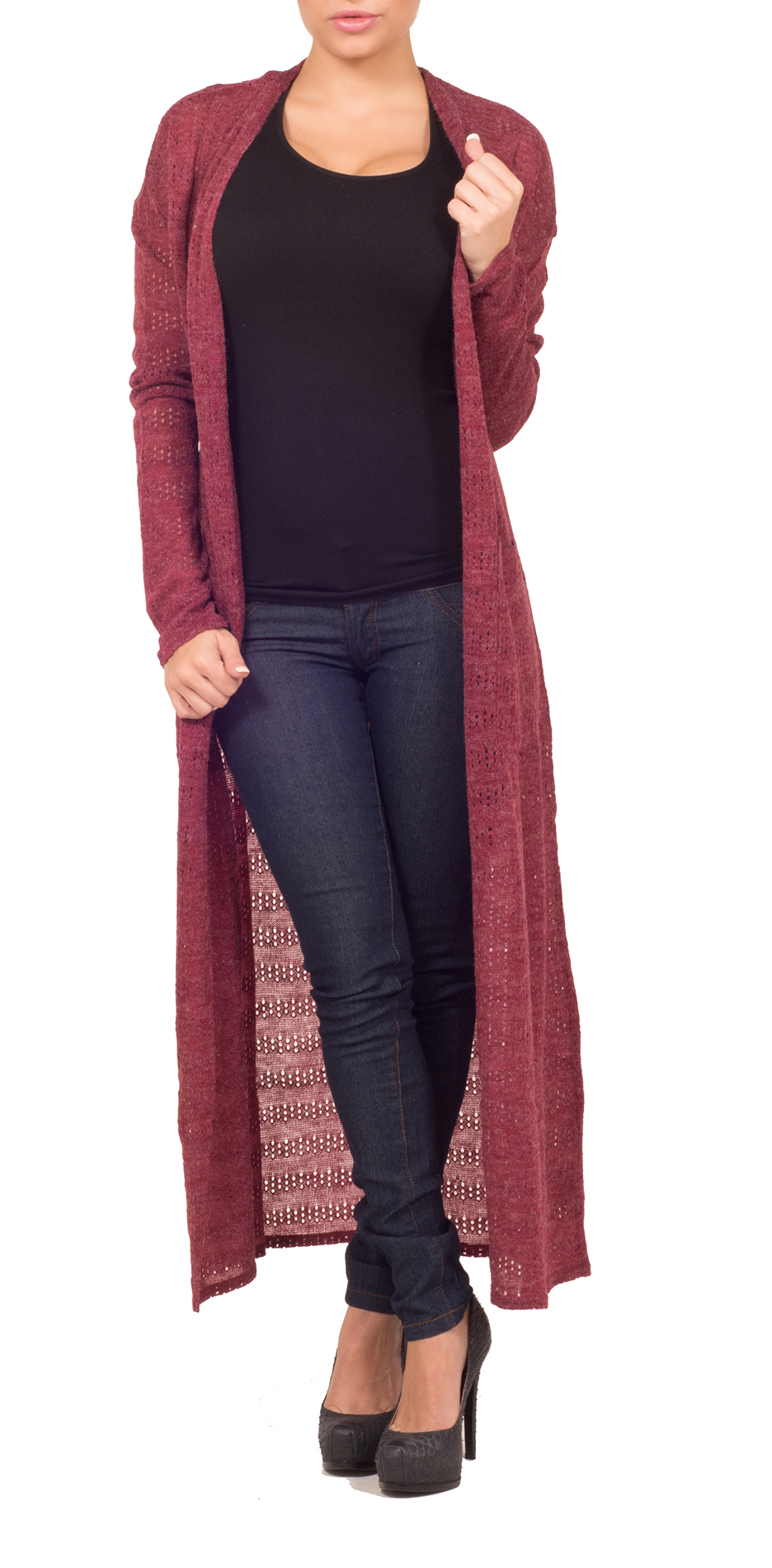 Hot From Hollywood Womens Sweater Front Pocket Open Front Long Sleeve Full Length Casual Cardigan at Sears.com